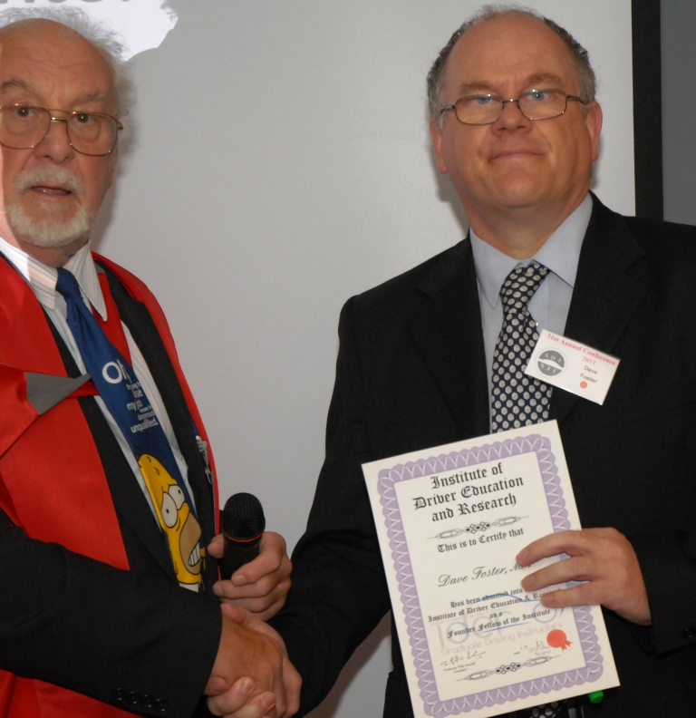 Dave receiving I.D.E.R fellowship from Prof. Russell